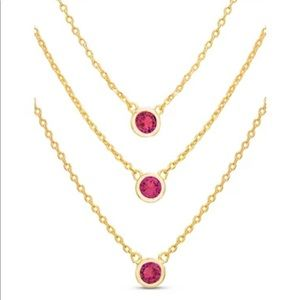 Belk Silverworks triple layer Necklace with gem